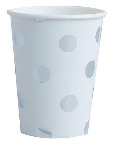 DiamondGoodies 10Unidades Blancas de Vasos de Papel/Vasos Desechables (200ML) con Grandes Puntos Plateados–Polka Dots