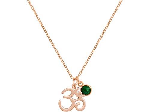 Gemshine YOGA Meditation Ohm Halskette aus 925 Silber, vergoldet oder rose. 2 cm Anhänger mit grünem Smaragd. Nachhaltiger, qualitätsvoller Schmuck Made in Spain, Metall Farbe:Silber rose vergoldet