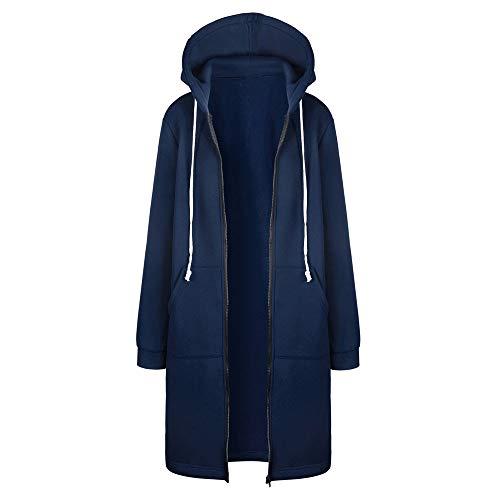 Xmiral Jas Vrouwen Rits Lange Jassen Tops Effen Kleur Winter Hooded Jacket - blauw - 3XS