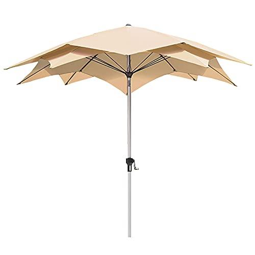 Sombrilla Lotus Double Top Sun Block Parasol, Parasol Bloqueador Solar Ventilado con Mecanismo de Inclinación, Manivela Elevadora Parque Acuático Tienda de Té con Leche Sombrilla (Color : Khaki)
