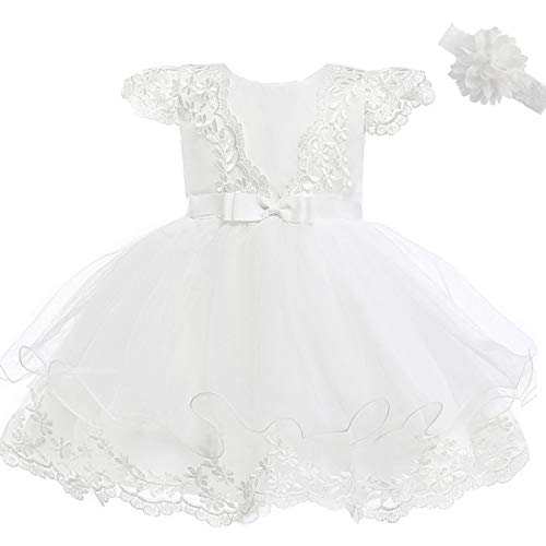 AHAHA Abiti da Battesimo per Le Neonate Principessa Abito da Sposa per Bambini Festa di Compleanno Abiti (0-2 Anni)