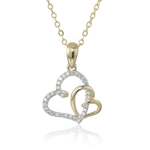 1/10 cttw Diamond Heart Pendant 14K Yellow Gold with 18 Inch Chain