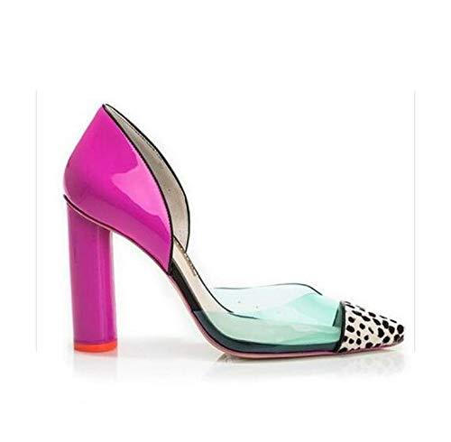 who-care Zapatos de tacón para mujer, de PVC, color rosa, de moda, para boda, fiesta, para mujer, con punta de punta, vestido de mujer, zapatos de tacón, color, talla 41.5 EU