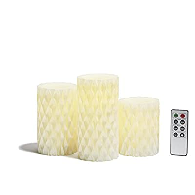 Pearl Flameless Pillar Candles with Warm White LEDs