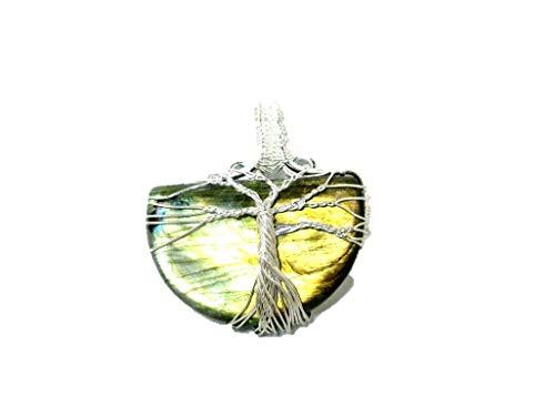 HiJet Wow - Collar con colgante de árbol de la vida en forma de media luna, con diseño de labradorita y armonía positiva, ideal para yoga, meditación, reiki, natural, auténtico estilo de moda