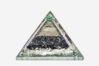 PYOR Black Tourmaline Selenite Orgone Pyramid Malachite Ball Chakra Balancing Positive Energy Generator 2.5-3 Inch Home Office Decor