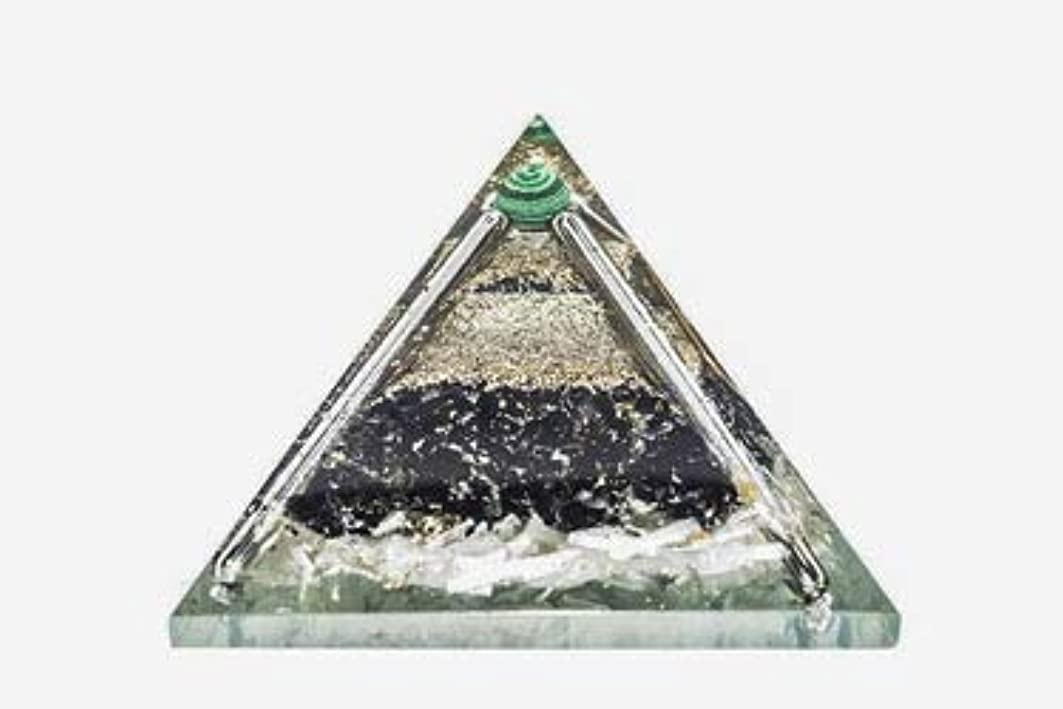 自発的次スパイラルcrocon Exclusive砂漠のブラックトルマリンOrgone Pyramid with Green MalachiteボールエネルギージェネレータレイキHealingオーラクレンジング& EMFの保護サイズ: 2.5?–?3インチ