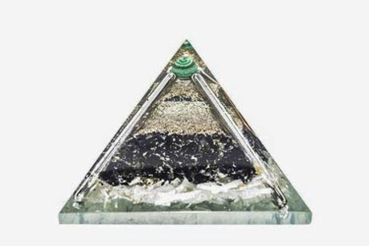 レンズわかる調整可能crocon Exclusive砂漠のブラックトルマリンOrgone Pyramid with Green MalachiteボールエネルギージェネレータレイキHealingオーラクレンジング& EMFの保護サイズ: 2.5?–?3インチ