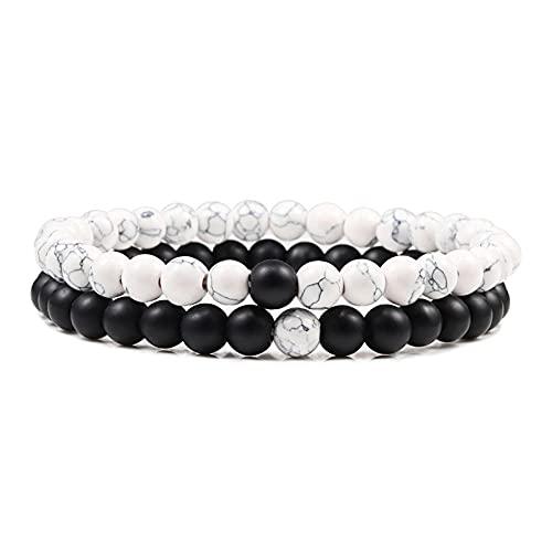 Hombres piedra de lava pulseras de distancia para parejas piedra natural blanco negro Yin Yang brazaletes con cuentas para mujer amigo pulsera-set 2