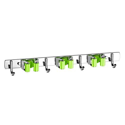 QFDM Almacenamiento Montaje de Pared Gancho Baño Organizador Mop Organizador Pedido de Trabajo Pesado Clip de Acero Inoxidable Soporte de Escoba Multifuncional (Color : Green 3)