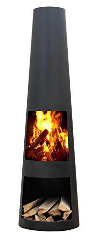 Original Gartenkamin/Terrassen- Feuerstelle Rengo Black, Kamin 125cm