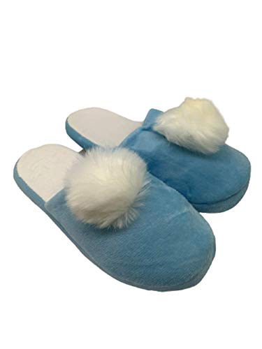 Ducomi Pantuflas de mujer de invierno Pom Pom, zapatillas de mujer y niña de casa o exterior, cómodas y divertidas, idea regalo para mujer, Navidad, cumpleaños, día de la madre Azul Size: 38/39 EU