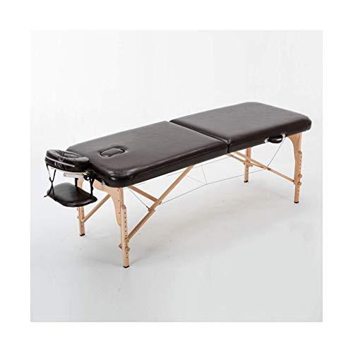 RTYUIO Mesa de Masaje Portátil Sofá Plegable de 2 Secciones Cama Ligero Salón de Belleza Terapia de Tatuaje Marco de Madera Masaje Negro Relajación (Color: Negro, Tamaño: 185 * 70 * 60-85 cm)