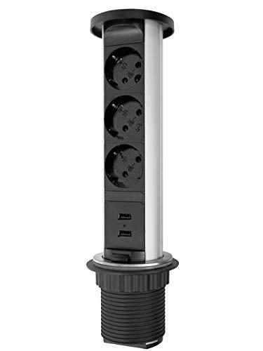 Elbe Inno Presa a scomparsa 3 Prese con 2 USB, Copertura impermeabile, Presa tedesca, Diametro 60mm, Presa da scrivania con Protezione per bambini, Presa da incasso per cucina, Adatto per Ufficio