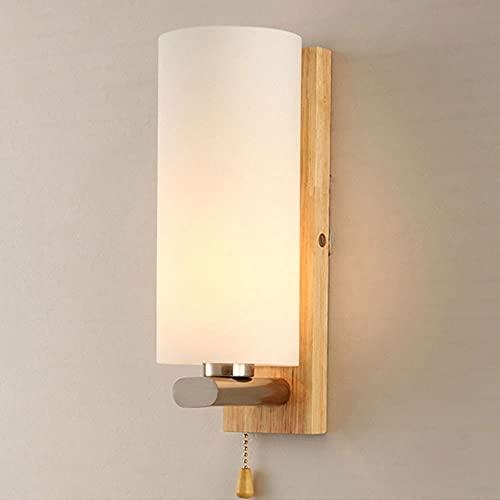 Kioiien Lámpara de pared de madera Lámpara de iluminación Nordic Simple moderno Moderno Lámpara de madera maciza con interruptor de la línea de plomo para la sala de estar Corredor Balcón Aisle dormit
