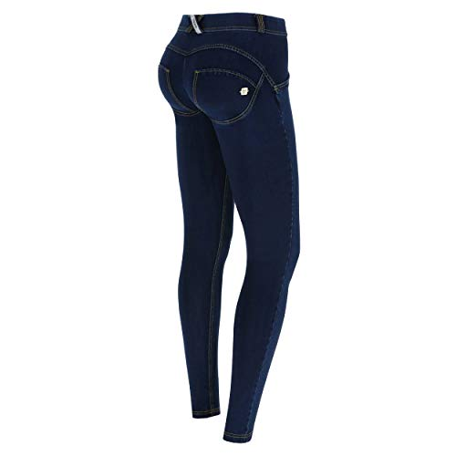 Freddy Damen WRUP1RC002 Leggings, Jeans Scuro-cuciture Gialle, L