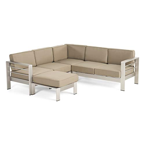 Christopher Knight Home Emily Coral Outdoor Aluminum 5-Seater V-Shape Sectional Sofa Set with Ottoman, Silver and Khaki