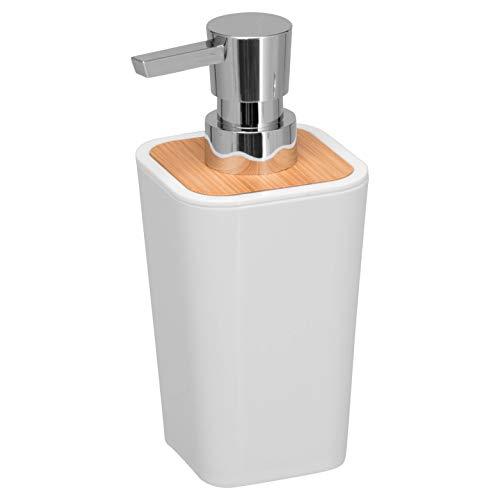 bremermann Seifenspender Calvi aus Bambus und Kunststoff // Füllmenge 320 ml (weiß)