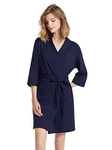 SIORO Damen Morgenmäntel Baumwolle Bademäntel Nachtwäsche kurz Nachthemden Schlafanzüge,Marine Medium