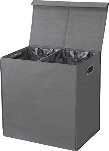 Simple Houseware Double Laundry Hamper with Lid and Removable Laundry Bags, Dark Grey