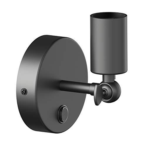 ledscom.de Lámpara de pared vintage E27 FETRO con interruptor, negro, giratorio, 100mm Ø