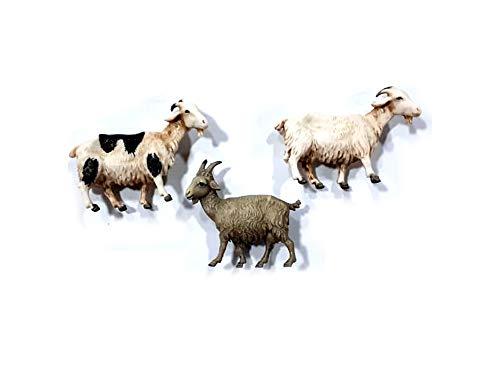 Ricevi 3 Animali Capre Adatti A PASTORI 7-10 CM PLASTICA Landi PRESEPE San Gregorio ARMENO Artigianali Portachiavi AMULETO Omaggio Shepherds Crib Gia