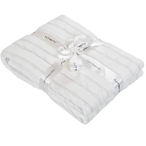 NTBAY Manta Para bebé Tejida con Cable de Algodón, Manta Suave y Acogedora para niños pequeños, 76x102 cm, Blanco