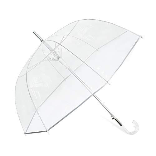 Lejorain Clear Bubble Umbrella - Auto Open Classic Dome Transparent Plastic Hook Handle - Fashion Stick Umbrella for Wedding(50inch)