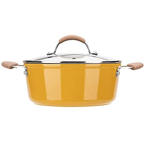 QIXIAOCYB Soup Pot Steel Stockpot with Glass Lid, 4 Quart Stock Pot, Non-Stick Stewing Pot with Lid, Induction Ready, for 3-5 People Use, Boiling, Frying, Stewing, Steaming Wok