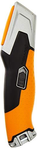 Fiskars Universalmesser mit einziehbarer Klinge, Länge 17,7 cm, Rostfreier Stahl/Kunststoff, Schwarz/Orange, CarbonMax, 1027223