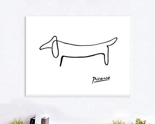 Picasso Abstrakte One Stroke Nordic Poster Wandkunst Poster Bild Hund Leinwand Malerei Schlafzimmer Wohnkultur Wohnzimmer 30X40 cm Ohne Rahmen