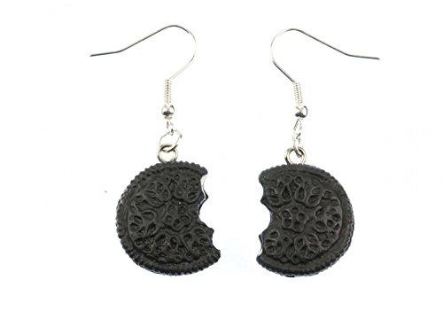 Miniblings Doppelkeks mit Biss Ohrringe Hänger Keks Cookie Kekse Füllung dunkel - Handmade Modeschmuck I Ohrhänger Ohrschmuck versilbert