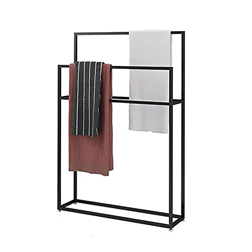 Wing Toallero de pie Negro Metal Toalleros repisa para baño con 2 Barras, Elegante baño toallero en Estilo Moderno, H 110cm,85×20×110cm(L×W×H) ⭐
