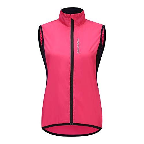 WOSAWE - Gilet da ciclismo da donna, leggero e traspirante, senza maniche, da corsa, antivento Rosa S