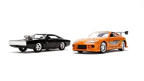 Jada Toys 253204003 Fast & Furious Twin Set, 1970 Dodge Charger (Street) & Toyota Supra, Modellauto, Spielzeugauto, Türen zum Öffnen, Maßstab 1:32, schwarz & orange, schwarz/orange