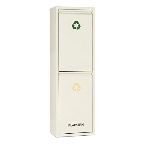 KLARSTEIN Ordnungshüter 2 Cubos de Basura para Reciclaje 30L (2 basureros de 15 litros, portezuela Frontal, identificación por Colores) - Crema Beige
