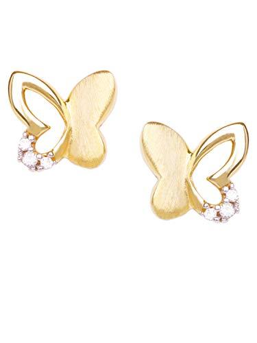Schmetterling Ohrstecker Stecker Ohrringe Gelbgold 333 Gold (8 Karat) Mit Zirkonia 6mm x 7mm Kinderohrringe Mädchenohrringe Sweet Butterfly V0010827