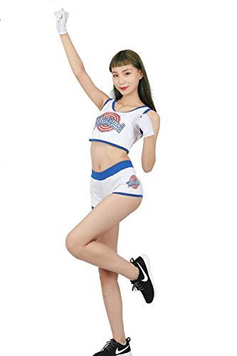 Mesky Uniforme de Animadora Falda para Chicas Cosplay de Lola Bunny Disfraz Creativa en Deporte Traje Completo Poliéster