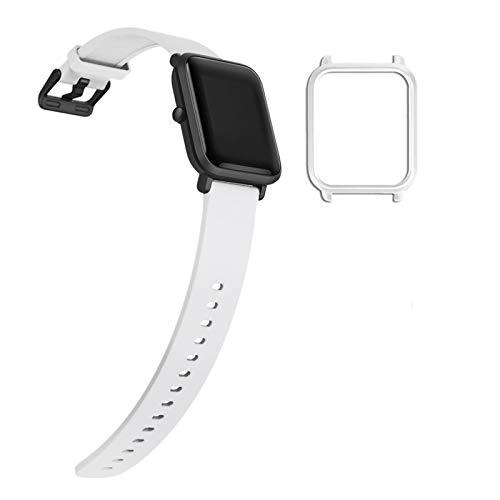 YHC Correa de Repuesto para Xiaomi Amazfit Bip/Bip Lite,con Caja de Reloj (03-Blanco)