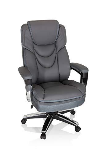 hjh OFFICE 750025 Drehstuhl XXL Elite PU Grau Bürosessel bis 210kg belastbar, Dicke Polsterung, Kopfstütze höhenverstellbar