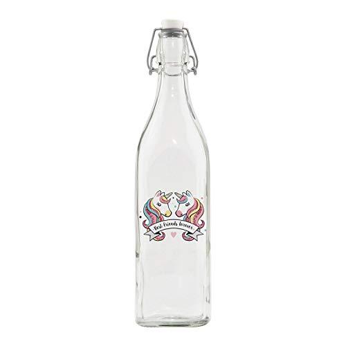 ARDITEX ZK50201 Botella de Cristal con Cierre de Clip de ZASKA-Unicornio