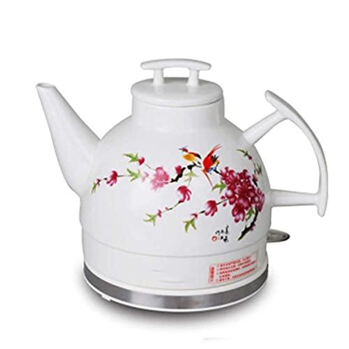 Hervidor de agua para el hogar, tetera eléctrica de cerámica blanca inalámbrica, jarra retro de 1 l, 1350 W hierve agua rápidamente para té, café, sopa, avena, base extraíble, protección para hervir e