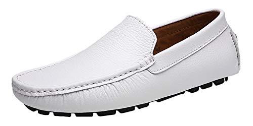 SK Studio Hombres Zapatos de Conducción Mocasines Calzado Casuales Zapatos Multi5 Blanco 43 EU