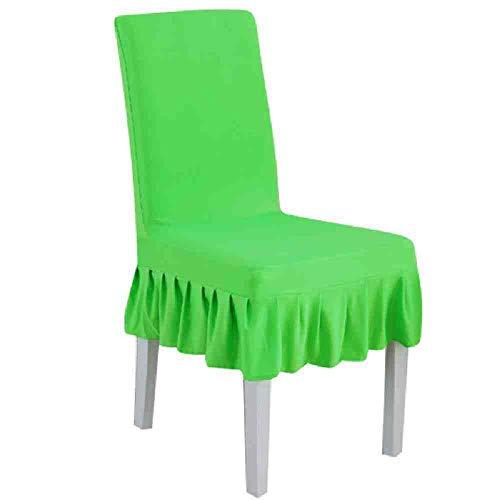 BJDKF Stoelhoes, 1 stuks, universeel, maat, stretch plissé, stoelhoezen, rok stoelhoezen voor bruiloftsbanketten, party, hotels, beschermhoezen groen
