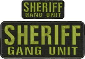 Embroidered Hook on Back for Vest - Sheriff Gang Unit Embroidery Patches 4x10 and 2x5 Hook on Back od Green Letters