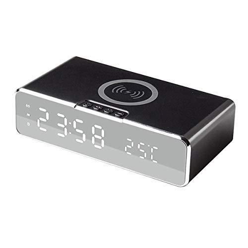 SHJMANPA Reloj Despertador con función de Cargador inalámbrico Qi, Reloj Despertador Digital...