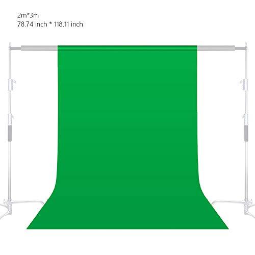 3 x 2 m Pro grüner Hintergrund, 100% Baumwolle, Hintergrund für Fotografie, Video und Fernseher