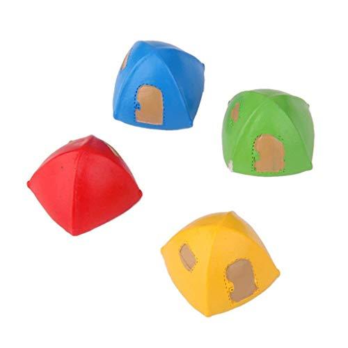 Wacemak1r Tienda de campaña en miniatura Yurta Micro Paisaje Artesanía DIY Decoración 4pcs