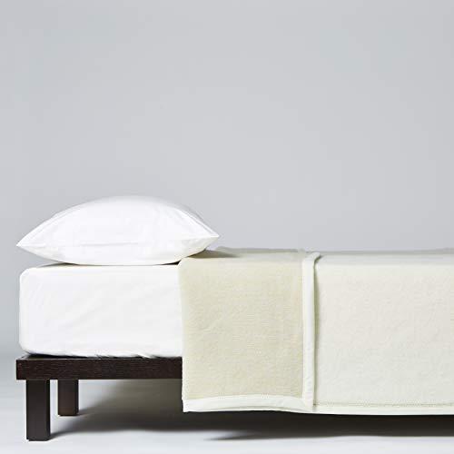 LANEROSSI Coperta Matrimoniale Maxi Angelica, 100% Lana Vergine, 230x270, Bianco/Avio