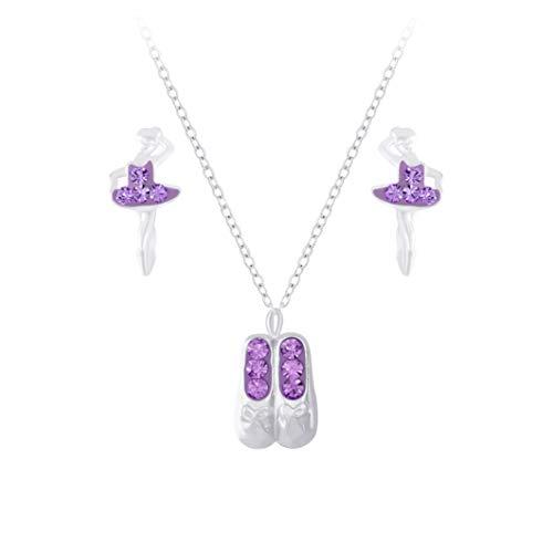 Laimons Orecchini da bambina a forma di ballerina, 10 mm e collana da 36 cm + 5 cm di estensione, con ciondolo a forma di scarpa da ballerina da 13 mm, con glitter viola in argento Sterling 925